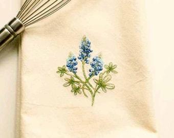 Texas Bluebonnet Tea Towel | Personalized Kitchen Towel | Embroidered Kitchen Towel | Embroidered Towel | Embroidered Tea Towel | Hand Towel