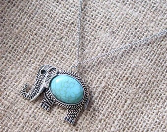 Imitation Turquoise Elephant Silver Necklace ~ Pendant on Chain