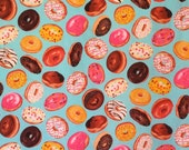 Clever Iced Donuts on Aqua Print Pure Cotton Fabric--By the Yard