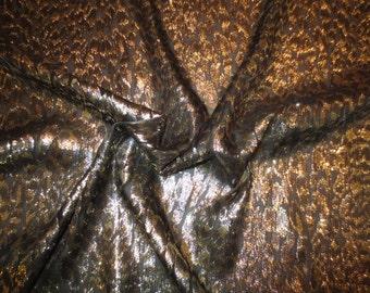 Elegant Black and Metallic Gold Silk Jacquard Fabric--One Yard