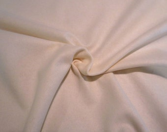 Winter White Felted Pure Wool Flannel Jacketing Fabric --One Yard