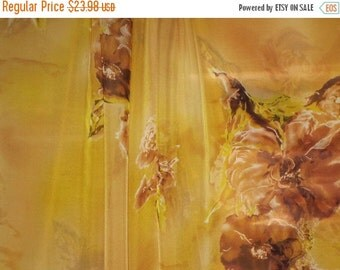 ON SALE Golden Tan and Yellow Floral Silk Chiffon Fabric--One Yard