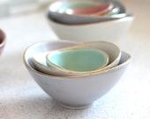 Mini Nesting Bowls - Gold Rim - Lilac, White, and Sea foam - set of 3