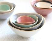 Mini Nesting Bowls - Gold Rim - White, Charcoal, Sea foam, Salmon - set of 4
