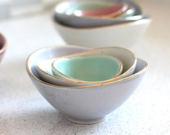 Mini Nesting Bowls - Gold Rim - Lilac, White, and Sea foam - set of 3