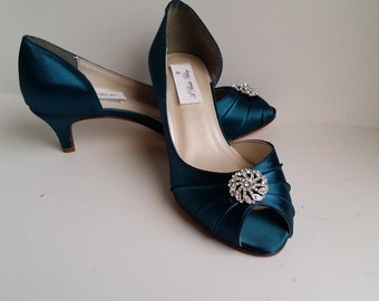 Teal Wedding Shoes with crystal design Teal Bridal Shoes Teal Bridesmaid Shoes  PICK FROM 100 COLORS Different Heel Heights
