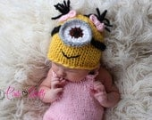 Minion hat.. girl minion..newborn hat....knit hat... photo prop... newborn photograph prop...20% off with code VALEN1 at checkout