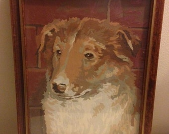 Vintage Paint by Number Collie Puppy - PBN - 1950s - Framed