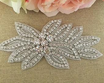 Rhinestone Applique- Bridal Applique - Wedding Applique - Rhinestone Wedding Applique