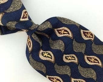Vintage Necktie Henry Grethel Dark/Blue Maroon Floral Silk Mens Neck Tie H2-19 Excellent