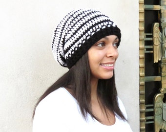 Crochet Slouchy Hat, Black and White Hat, Ribbed, Women, Men, Teen, Tam,  Adult, Ready