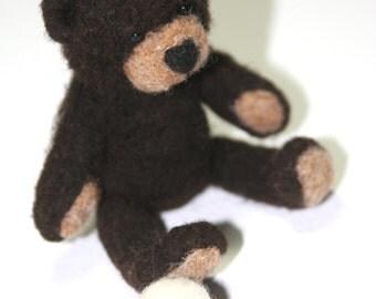 Needle Felted Sitting Chocolate Brown Teddy Bear