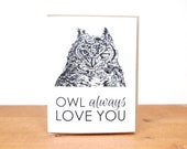 greeting card: owl always love you, i love you, thinking of you, miss you, friendship, owl hooter card