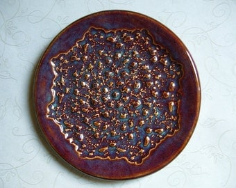 Plum Wine Pottery Doily Dish or Spoon Rest