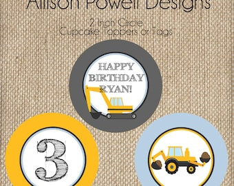Construction, Back Hoe, Digger, Crane, Birthday Party Cupcake Toppers