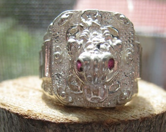Wicked Silver Dragon Ring with Ruby Red Eyes Men's Ring Size 7 Biker or Rocker Ring
