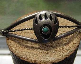 Southwestern Vintage Sterling Silver Women's Cuff with Bear Claw Design and Small Turquoise Stone Navajo