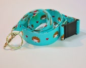 Fabric Lanyard  ID Badge Holder -  Teacher lanyard - Pretty Turquoise hedgehog and hearts - Breakaway safety clasp optional