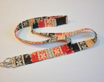 Fabric Lanyard  ID Badge Holder -  Teacher lanyard - ski chalet nordic lanyard - Breakaway safety clasp