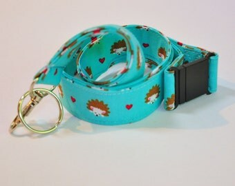 Fabric Lanyard  ID Badge Holder -  Teacher lanyard - Pretty Turquoise hedgehog and hearts - Breakaway safety clasp optional