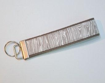 Key fob Keyfob gray woodgrain on gray fabric wristlet  Key chain fabric lanyard