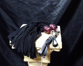 Finger Floggers, black suede and metallic red  PAIR- Flogger, Whip, BDSM,