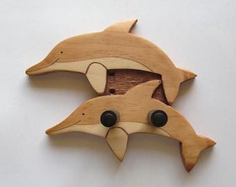 Ukulele wall mount hanger, double dolphin