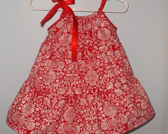 Red and White Pillowcase Style Dress, Red and White Baby Dress