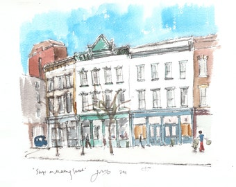 Shops on Meeting Street, Charleston, South Carolina. Travel art print from an original watercolor sketch.