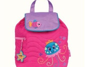 SHIPS NEXT DAY--Personalized Monogrammed --New Pattern Stephen Joseph Kid Quilted Jellyfish fish starfish Backpack-Free Monogramming-