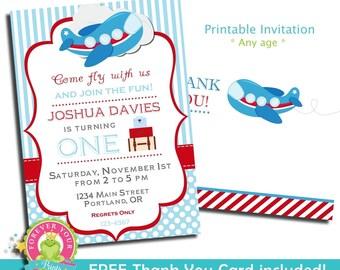Airplane Birthday Invitation / Birthday Invitation / Airplane Party Invite / Airplane Invitation / Pilot Invitation / Airplane Birthday
