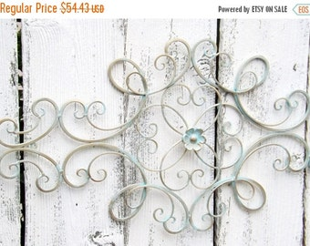Scrolled Wrought Iron // Shabby Chic //Wrought Iron Wall Hanging /Gold Patina Wrought Iron