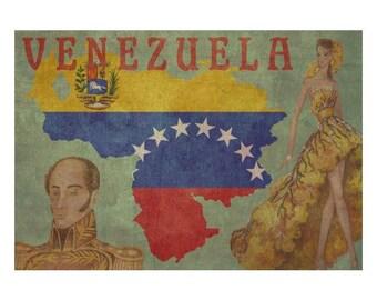 VENEZUELA 1F- Personalized Leather Journal Cover Moleskine Field Notes Custom