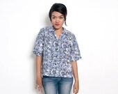 ON SALE Vintage 70s Shirt/70s Floral Blouse/Gray Olive Floral Print Short Sleeve Shirt, Large / Extra Large