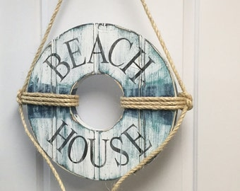 Life Preserver Ring Sign Beach House Wall Art Nautical Coastal Living by CastawaysHall