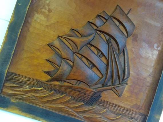 Vintage Carved Wood Sailing Ship Picture Art Beach House