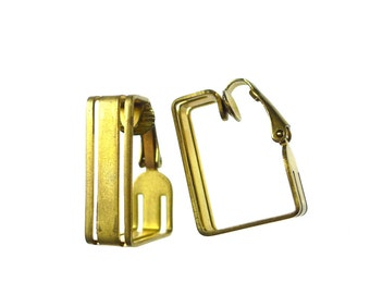 Clip on earrings, raw brass big squares