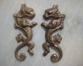 Vintage Medieval Style Dragon Stampings : Matched Pair, Left & Right Facing, Brass Stampings, 45mm x 21mm, 1 Pair