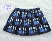 Dr Who Tardis Girls Skirt (sizes doll, girls 0/3 months to girls 12/14) girls skirt, mommy and me, dolly and me, geek, dr who fandom, tardis