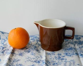 Vintage Brown Creamer. Serving Pitcher. Kitchen Tableware. Shelf Display. Primitive Home Kitchen Decor. Rustic Country Farmhouse Chic.