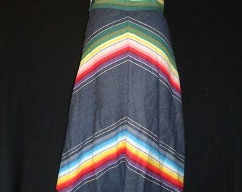 ETHNIC Chevron Striped Vintage 1970's Southwestern Aline BOHO Skirt XS S