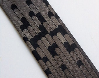 """Vintage 60's Silk Skinny Tie Necktie in Black and Gray Ombre with Design Rockabilly 2"""""""