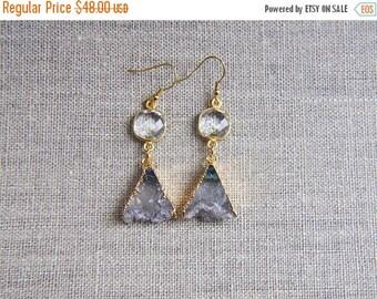 SALE Amethyst Earrings, Triangle Earrings, Geometric Earrings, Triangle Amethyst Earrings, Quartz Crystal Earrings, Boho Earrings, Gold Earr