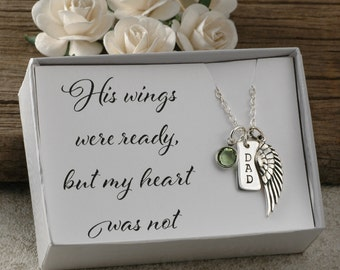 Dad Memorial Jewelry, his wings were ready but my heart was not, sterling silver necklace, wing, birthstone, name up to 3 letters