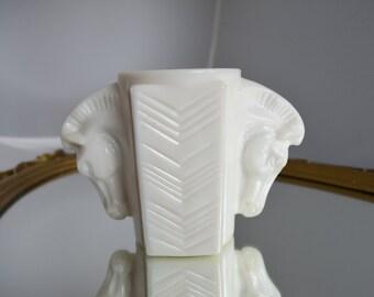 Vintage Milk Glass Vase Double Horse Heads 1930's MacBeth Evans – Chevron Pattern Elegant Equestrian Gift