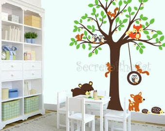 Wall Decals Nursery. Tree Decal. Wall Decal tree. Tree and owls decals. Nursery wall decal. baby tree decal - Squirrels