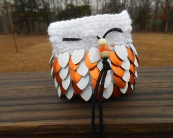 Dice Bag, Orange and White Scalemail, Gamers, D and D, RPG, Cosplayers, Gamers Pouch, Scalemaille