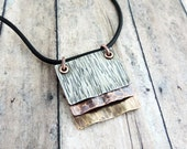 Metalwork Jewelry - Artisan Jewelry - Rustic Jewelry - Square Pendant - Hammered Mixed Metal Necklace