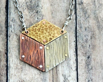 Geometric Cube Necklace - Rustic Mixed Metal Jewelry - Riveted Jewelry - Artisan Metalwork - Hammered Textures