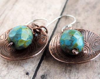 Etched Earrings, Turquoise Czech Glass Earrings, Copper Earrings, Disc Earrings